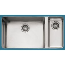 "Kubus 33"" x 17.94"" Double Bowl Kitchen Sink"