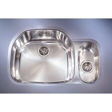 "Prestige 32.25"" x 17"" - 21.25"" Left Hand Double Bowl Kitchen Sink"