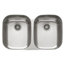 "34.06"" x 20.44"" Enhanced Regatta Double Bowl Kitchen Sink"
