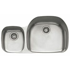 "Prestige 36.13"" x 16.13 - 21.25"" Left Hand Large Double Bowl Kitchen Sink"