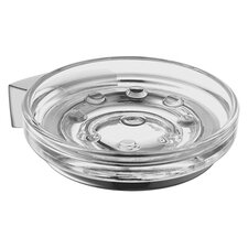 Soap Dish Holder with Clear Glass Dish in Chrome