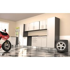Garage Pro 11 Piece Set with Work Surface, Rolling Casters, and Three 1-Door Wall Boxes