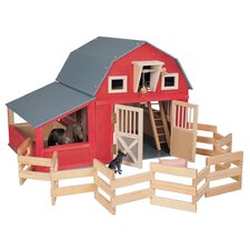 Gable Barn with Side Stall and Corral in Red