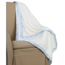 <strong>Go Mama Go</strong> Cream Minky Toddler Blanket with Blue Satin Trim