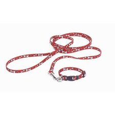 Nylon Lil Pals Puppy Collar in Red and White Bones