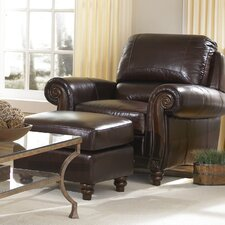 <strong>Lazzaro Leather</strong> Arm Chair and Ottoman