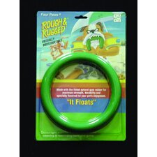 "7"" Ring Float Dog Toy in Green"