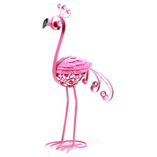 Filigree Flamingo with Feathers Statue