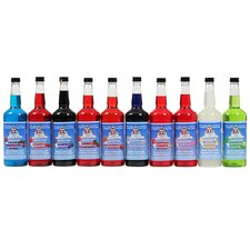10 Flavor Combo Pack Snow Cone Shaved Ice Syrup Quart