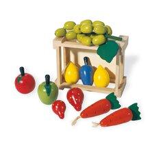 Kiste mit Gemüse in Bunt lackiert