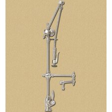 "<strong>Waterstone</strong> Towson Gantry 18"" Two Handle Single Hole Articulated Bar Faucet with Pre-Rinse Spray"