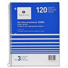 "Notebooks, Wirebound, 3 Subject, 10-1/2""x8"", College Ruled, 120SH"