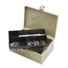 "Cash Box, w/ Latch Lock, 2 Keys, 7 Cmpmnts, 11""x7-3/4""x4"", Gray"