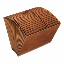 "Accordion Files, No-Flap, 12 Pckts, Jan-Dec, Legal, 15""x10"", Brown"