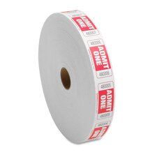 Roll Tickets, Admit One, 2000 Tickets Per Roll, Red