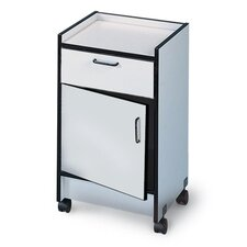 "Drawer and Cabinet Mobile Cart, 1Drwr/1Door, 18-1/2""x18-1/2""x30"", Folkstone Gray"