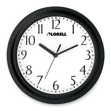 "Wall Clock, 9"", Arabic Numerals, White Dial/Black Frame"