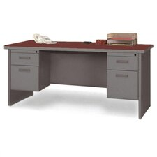 Durable Executive Desk with 2 Right and 2 Left Drawers