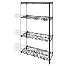 "4-Tier Wire Rack Add-On Unit, 48"" x 18"" x 72"", Black"