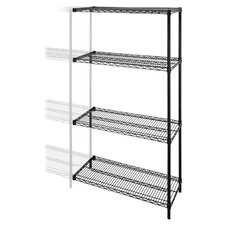 "<strong>Lorell</strong> Industrial Adjustable Wire Shelving Add-On-Unit, 36"" x 24"" x 72"", Black"