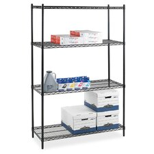 "Industrial Adjustable Wire Shelving Starter Unit, 36"" x 24"" x 72"", Black"