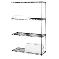 "<strong>Lorell</strong> Industrial Adjustable Wire Shelving Add-On-Unit, 36"" x 18"" x 72"", Black"