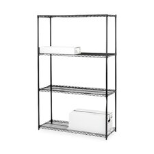 "4-Tier Industrial Wire Shelving Starter Unit,, 48"" x 18"" x 72"", Black"