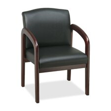 Lorell Deluxe Faux Leather Guest Chairs, Black mahogany