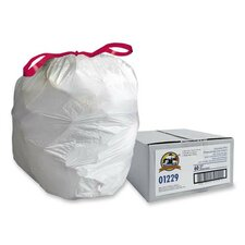 White Flex Drawstring Trash Liners , White