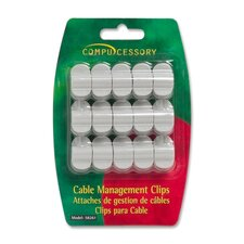 Cable Organization Clips, w/ Double Stick Tape, 15 per Pack, Gray