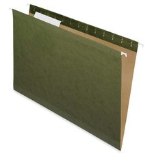 100% Recycled Hanging File Folders, Green,1/5 Cut, Legal
