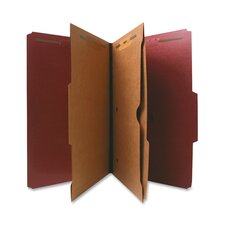 Classification Folder, Two-Pocket, 2/5 Cut, Letter, 10 per Box, Red