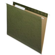 100% Recycled Hanging File Folders, Green,1/5 Cut, Letter