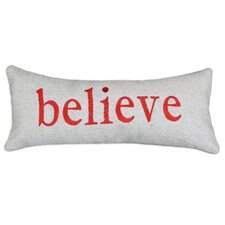 "Wisdom Burlap ""Believe"" Embroidery Simply-Backed  Polyester Pillow"
