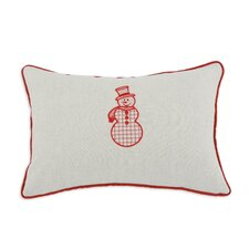 Linen Natural Snowman Embroidered Pillow