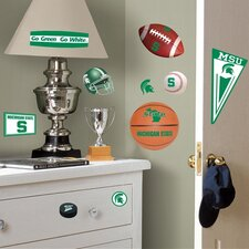 Collegiate Sports 25 Piece Appliqué Michigan State University Wall Decal Set