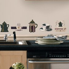 Room Mates Deco 31-Piece Coffee House Wall Decal