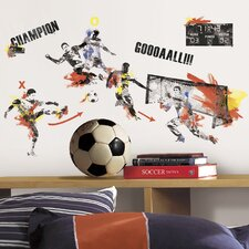 53 Piece Studo Men's Soccer Champion Peel and Stick Wall Decals Set