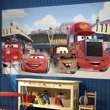 Cars Friends to the Finish Chair Rail Prepasted Wall Mural