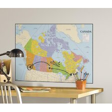 Canada Map Peel and Stick Dry Erase Giant Wall Decal