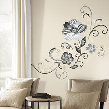 Deco Flower Scroll Peel and Stick Giant Wall Decal