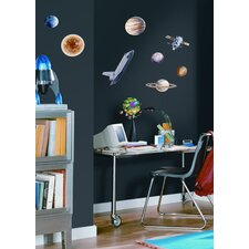 24-Piece Space Travel Peel and Stick Wall Sticker
