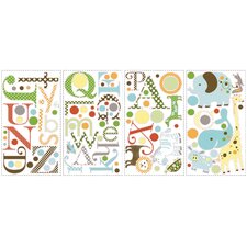 107-Piece Studio Designs Animal Alphabet Peel and Stick Wall Decal