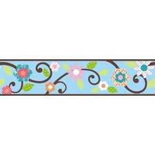 Studio Designs Scroll Floral Wall Border in Blue / Brown