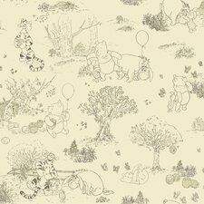 Winnie The Pooh - Toile Wallpaper in Cream / Green