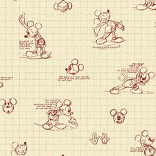 Mickey Mouse Sketches Wallpaper in Red