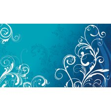 Blue Scroll Chair Rail Prepasted Mural