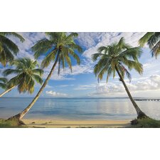 Beach View Chair Rail Prepasted Wall Mural