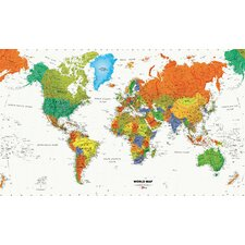 World Map Chair Rail Prepasted Mural 6' x 10.5'