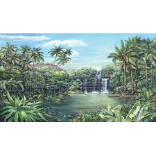 Tropical Lagoon Chair Rail Prepasted Wall Mural
